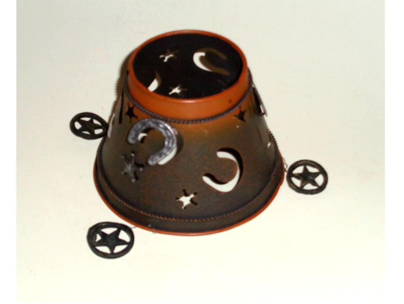 Rustic Metal Horseshoes and Stars Candle Shade Western Decor