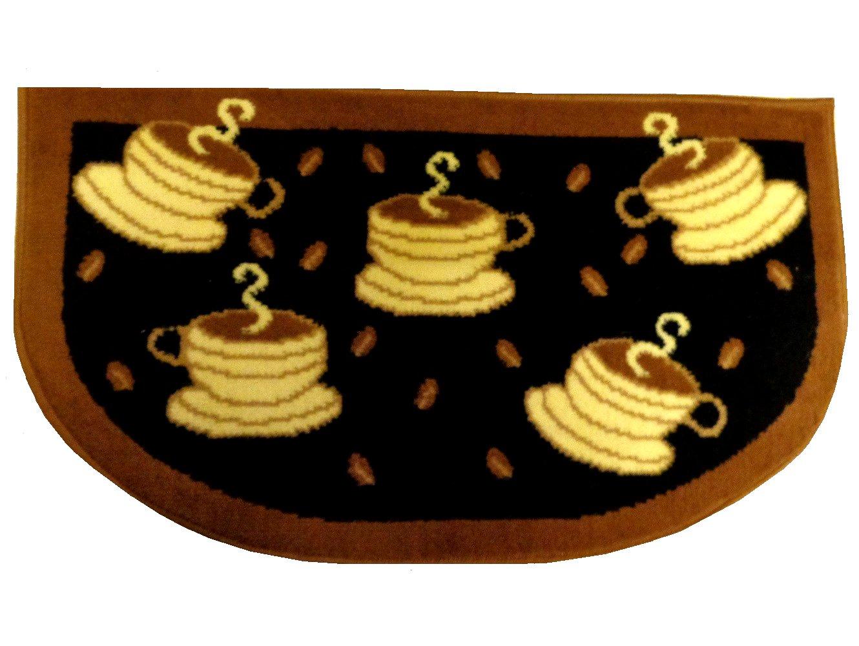 Black Brown Coffee Cups Kitchen Rug
