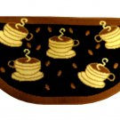 Black Brown Coffee Cups Kitchen Rug