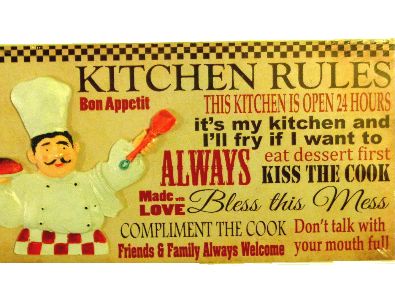 Fat Italian Chef Kitchen Plaque Sign Kitchen Rules