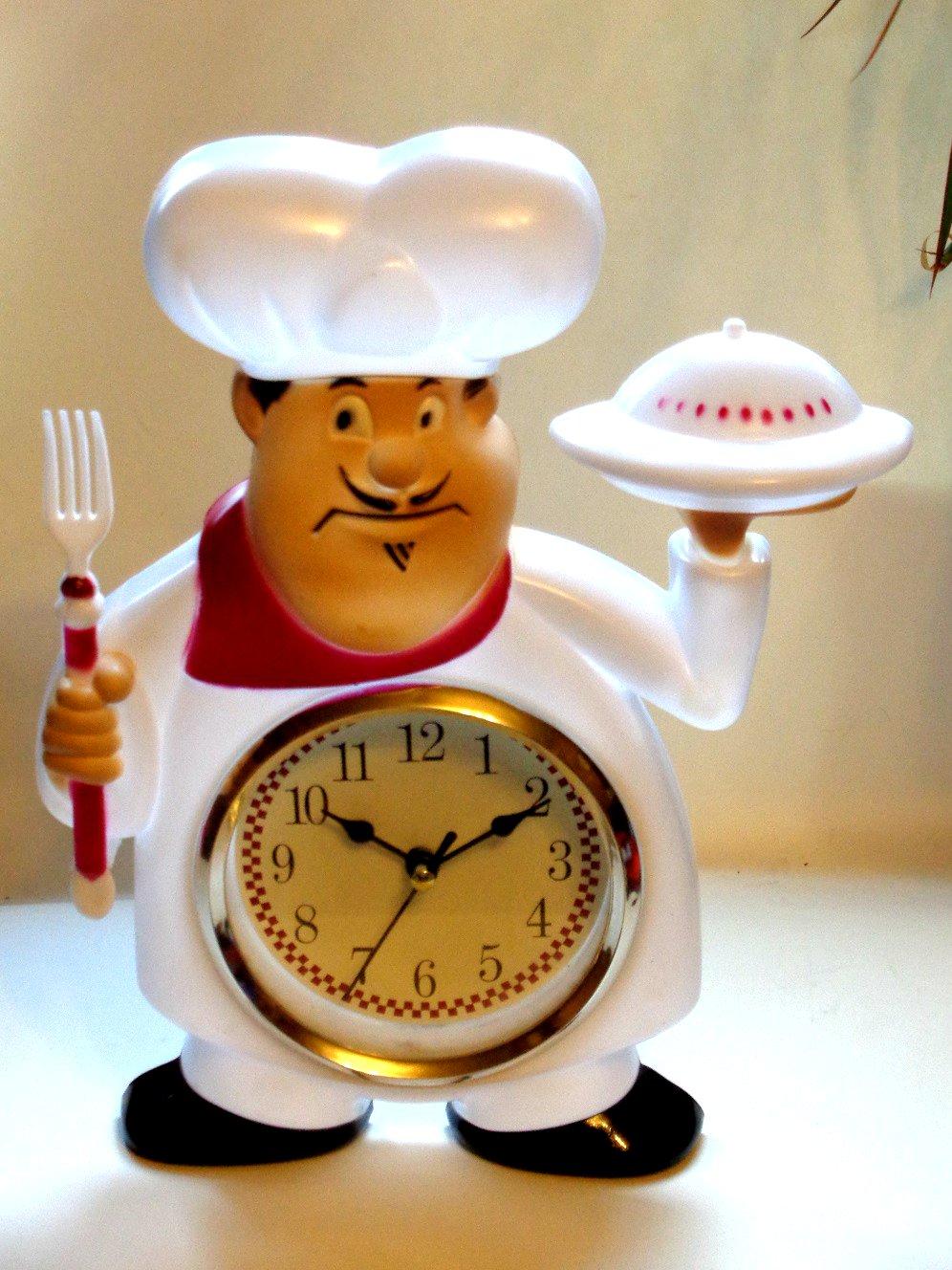 Fat Italian Chef Kitchen Wall Clock Red White