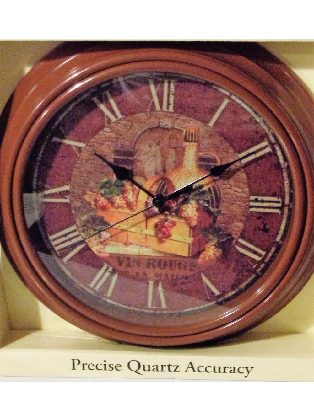 Vin Rouge Basket of Grapes Wine Kitchen Wall Clock