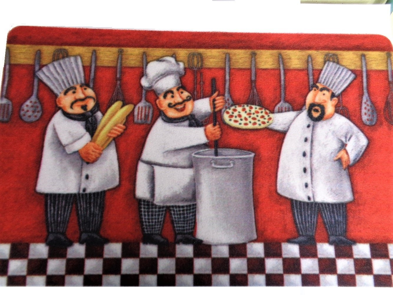 Red And Black Fat Chef Kitchen Rug