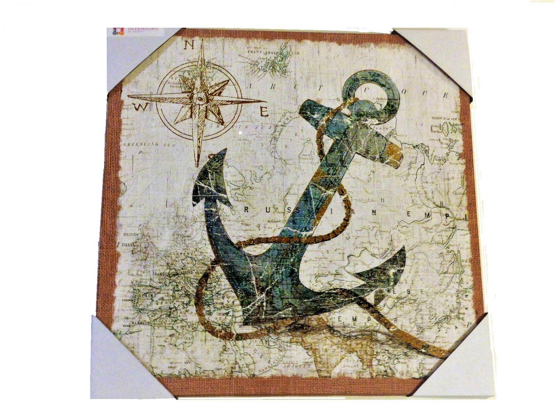 Anchor Compass Nautical Canvas Wall Art