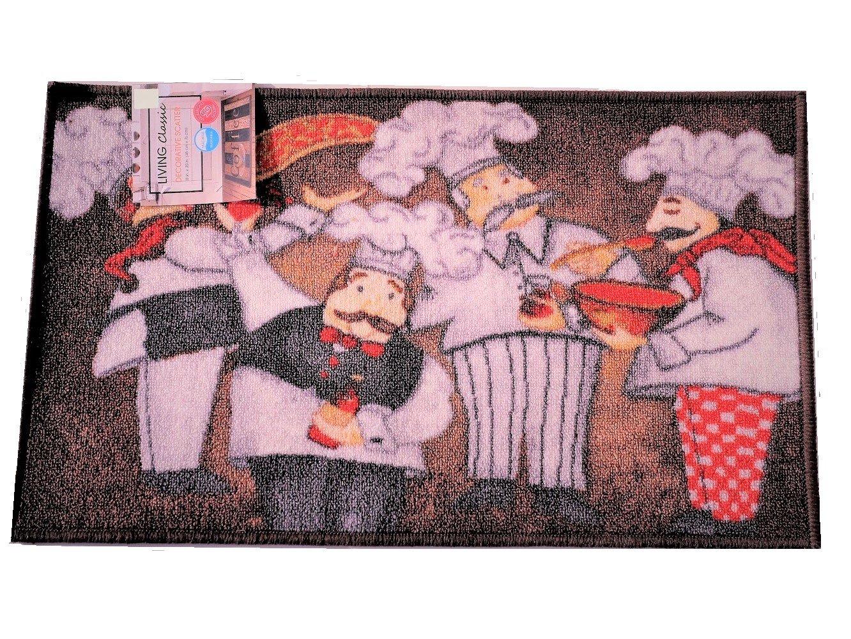 Humorous Fat Chefs Kitchen Rug Italian Decor