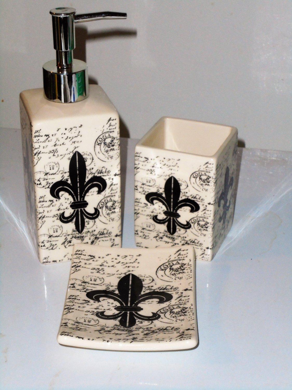 French Fleur de Lis Bath Accessories Set Ceramic