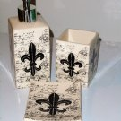 French Fleur de Lis Bath Accessories Set Ceramic