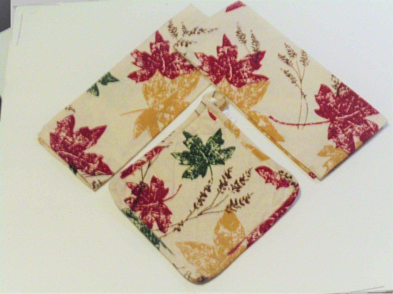 Autumn Maple Leaves Kitchen Linens Set Towels Pot Holder