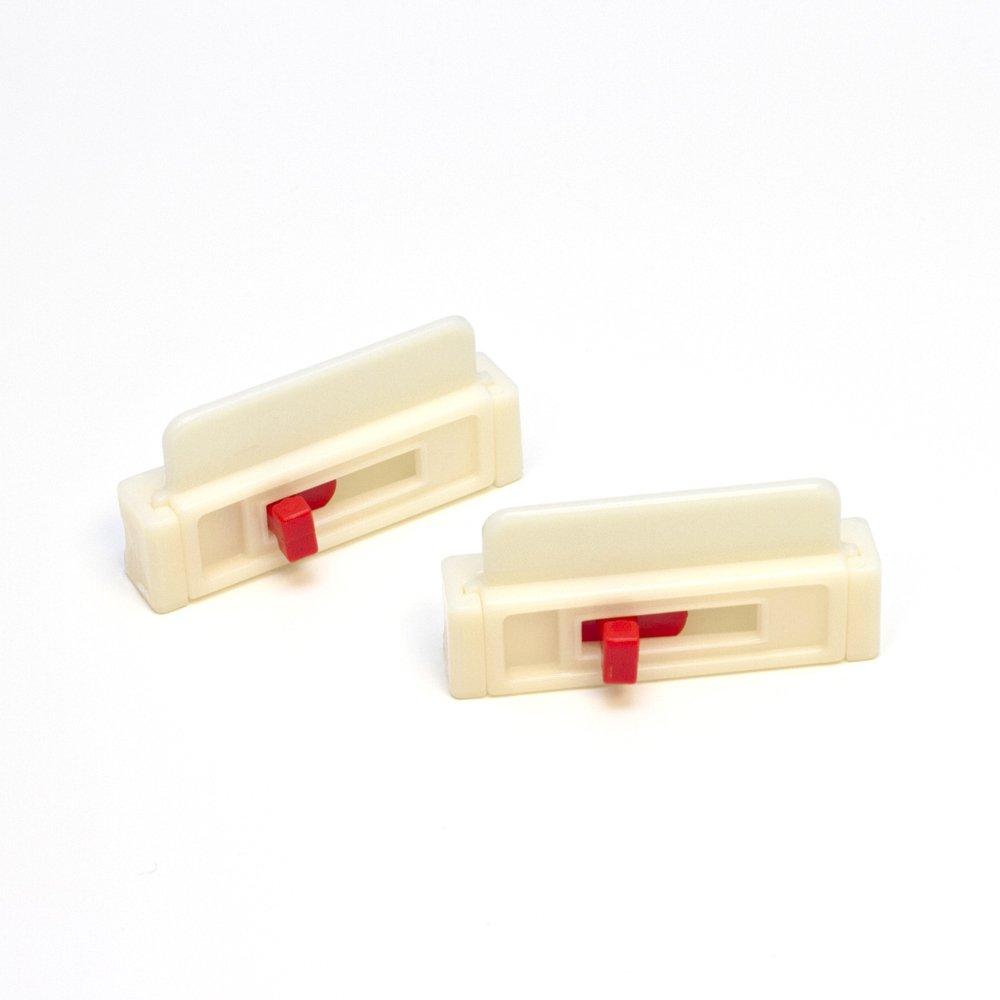 2 White LooPo Seat Belt Tension Adjusters (white) - comfort, no wrinkles