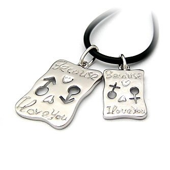 "Sterling Silver Double Pendant ""Love"", Rhodium Plated (DZ-92)"