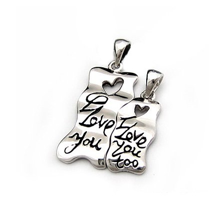 "Sterling Silver Double Pendant ""Love"", Rhodium Plated (DZ-210)"