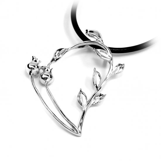 "Sterling Silver Pendant ""Flower Heart"", Rhodium Plated (DZ-619)"