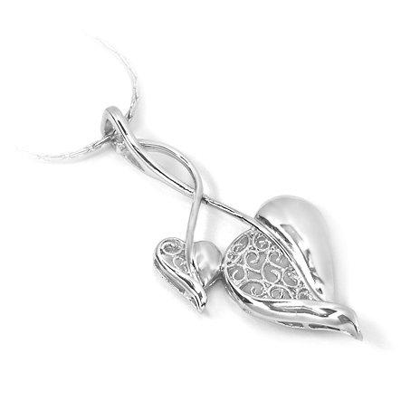 "Sterling Silver Pendant ""Filigree"", Rhodium Plated (DZ-836)"