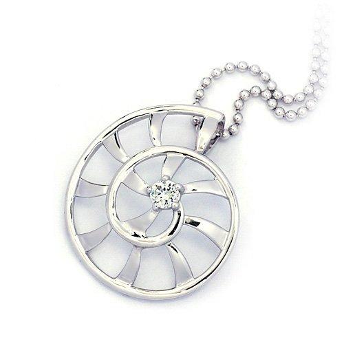 "Sterling Silver Pendant ""Seashell"", Rhodium Plated (DZ-892)"