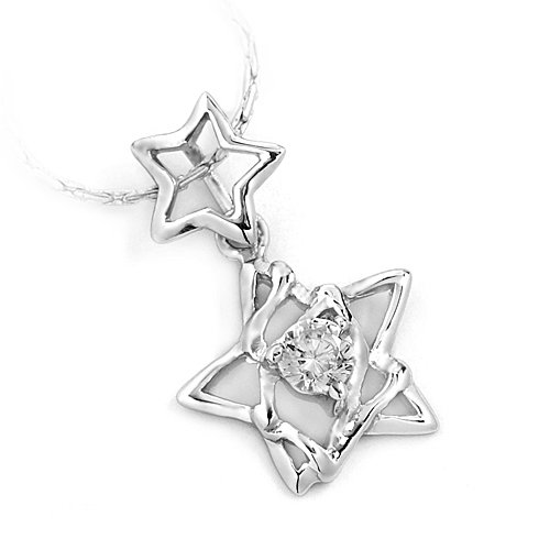 "Sterling Silver Pendant ""Double Star"", Rhodium Plated (DZ-864)"
