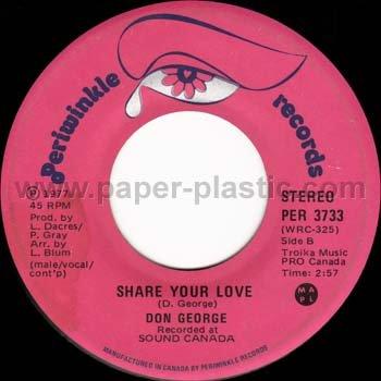 DON GEORGE Sittin' on the Sidewalk / Share Your Love 45 Canada [7-100]