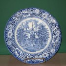 Staffordshire Liberty Blue Independence Hall Plate I56