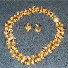 Orange Plastic West Germany Necklace Clip Earings  M2
