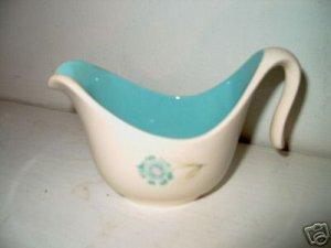 Retro 50's Futuristic Creamer White w Blue Flower  I18