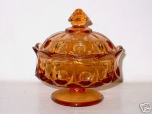 Vintage Amber Glass Covered Candy Dish  I16