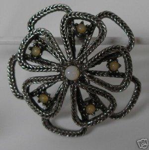 Lovely Silvertone  Pin/Brooch Genuine Opal Center A5