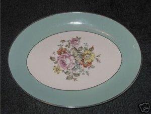 Danube Oval Platter Floral Bouquet in Center    MT