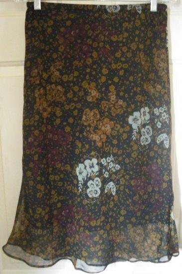 CALIFORNIA KRUSH Below-Knee Black FLORAL PRINT Skirt size M *NWT*
