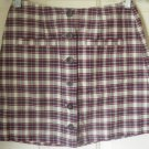 AEROPOSTALE Mid-Thigh Burgundy BUTTON-FRONT PLAID Skirt size 4