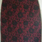 EXPRESS Red Above-Knee STRETCH Floral Print Skirt size 3/4