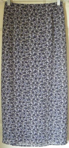 DRESSBARN Long Navy Blue FLORAL PRINT Skirt size PS