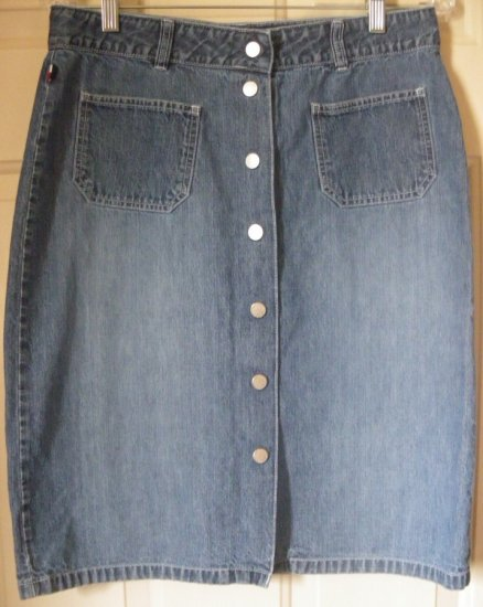 TOMMY HILFIGER Blue Knee-Length SNAP-FRONT DENIM Skirt size 8