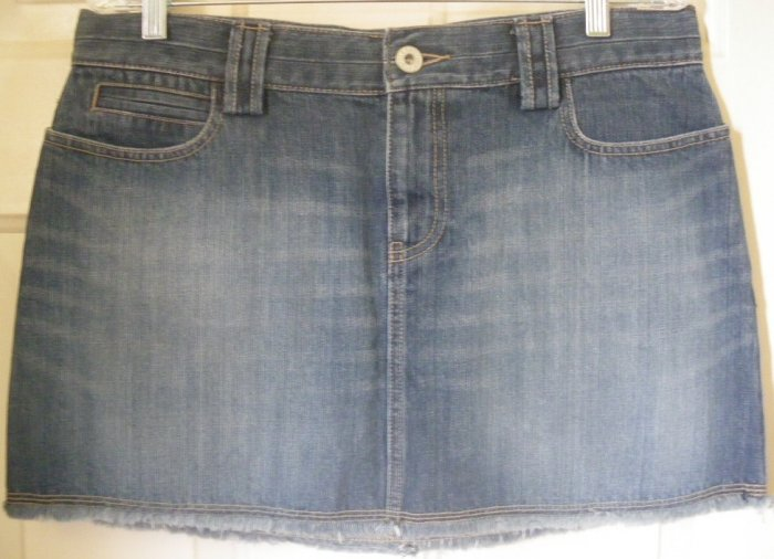 OLD NAVY Blue Mid-Thigh Fringed LOW WAIST DENIM Skirt size 10