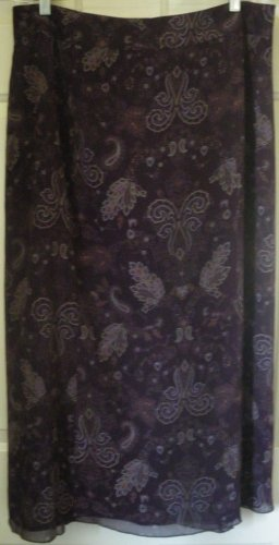 NORTON MCNAUGHTON Long Purple PRINT Skirt size 14