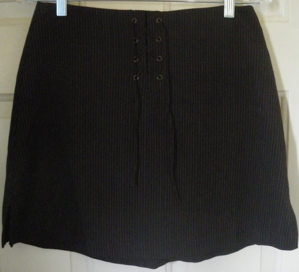 EXACT CHANGE Brown Mid-Thigh STRETCH PINSTRIPED Skirt size 7