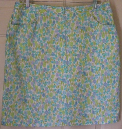 LIZ CLAIBORNE White Blue Green Above-Knee FLORAL PRINT Skirt size 16