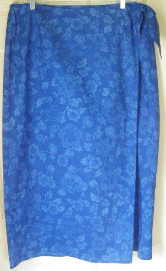 RALPH LAUREN Long Royal Blue FLORAL PRINT WRAP Skirt size 18W