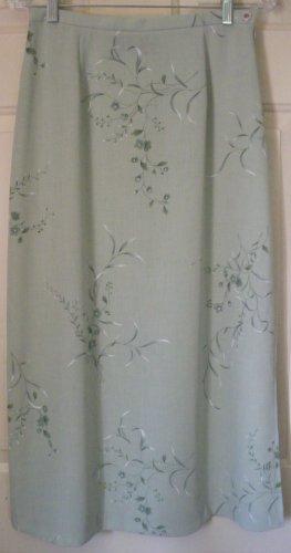 LAURA SCOTT Long Green FLORAL PRINT Skirt size 8P