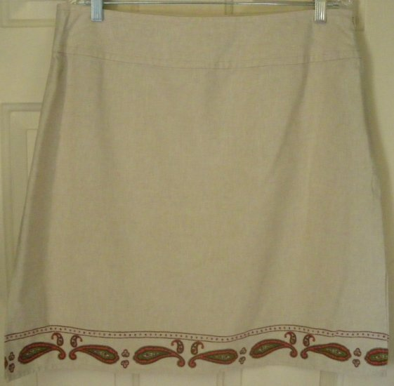 VILLAGER SPORT LIZ CLAIBORNE Beige Above-Knee LINEN BLEND Skirt size 16