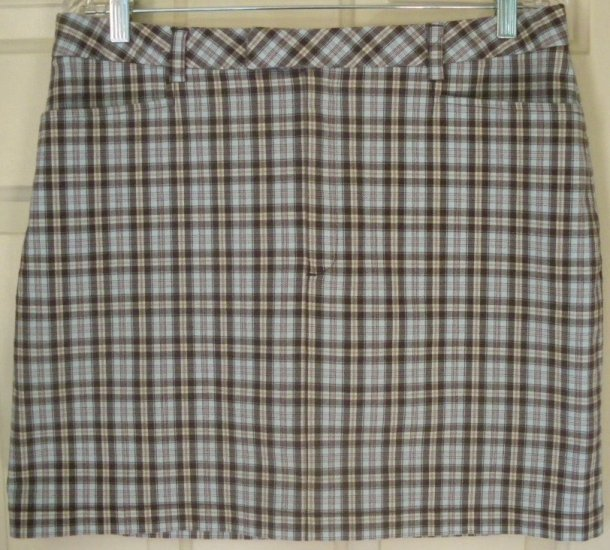 GAP Brown Mid-Thigh STRETCH PLAID Skirt size 14