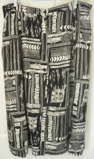 BASIC EDITIONS Black & Beige Mid-Calf BUTTON FRONT Print Skirt size 24W *NWOT*