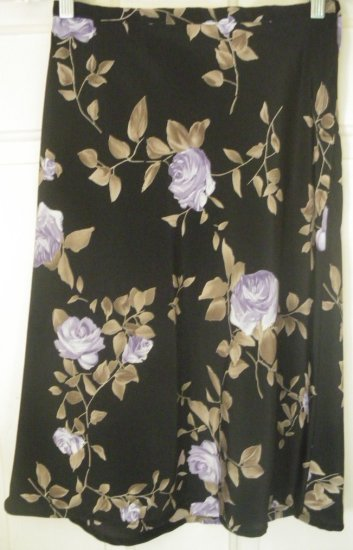 A. BYER Black Knee-Length FLORAL PRINT Skirt size 5