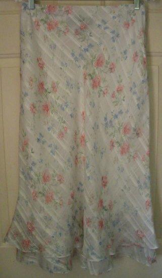 RALPH LAUREN White Mid-Calf FLORAL PRINT SILK Skirt size 6