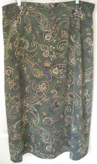 BENTLEY Long Green PAISLEY Skirt size 24 *NWOT*