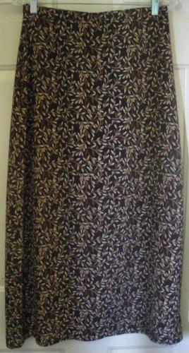 M.J. CARROLL Long Brown FLORAL PRINT Skirt size L