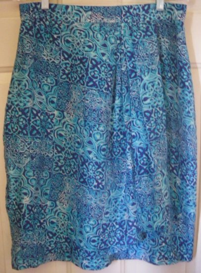 AMANDA FIELDING Blue Knee-Length FAUX WRAP SILK Print Skirt size 14