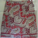 SIDEOUT Red Above-Knee PAISLEY Skirt size 5