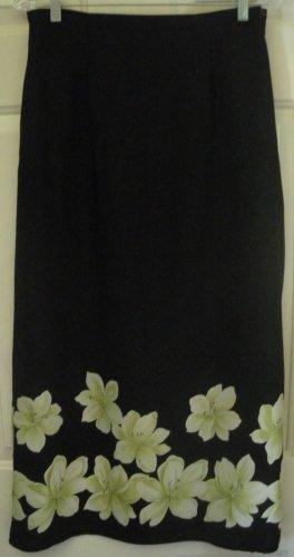 SAG HARBOR Long Black FLORAL PRINT Skirt size 10