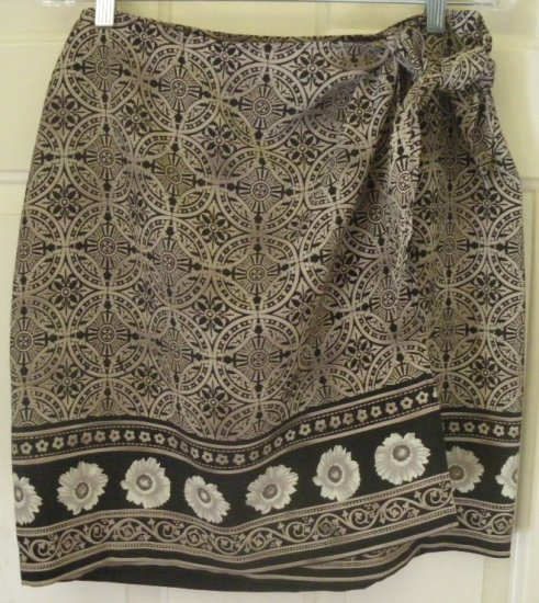 FRAMEWORK Tan Knee-Length FAUX-WRAP Print Skirt size 10P