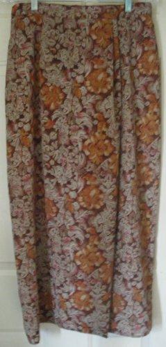 URBAN WORKS Long Brown FAUX-WRAP Print Skirt size L