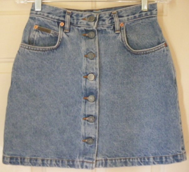 CALVIN KLEIN Blue Mid-Thigh BUTTON-FRONT DENIM Skirt size 5